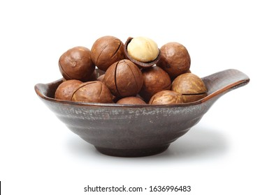 Nuts of Macadamia on white background.