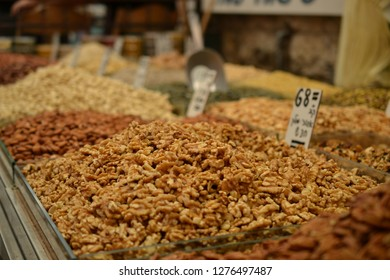 nuts at Mahane Yehuda, shuk, Jewish grocery market in Jerusalem, Israel