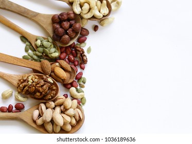 nuts mix for a healthy eating (cashew, pistachios, hazelnuts, walnuts, almonds)