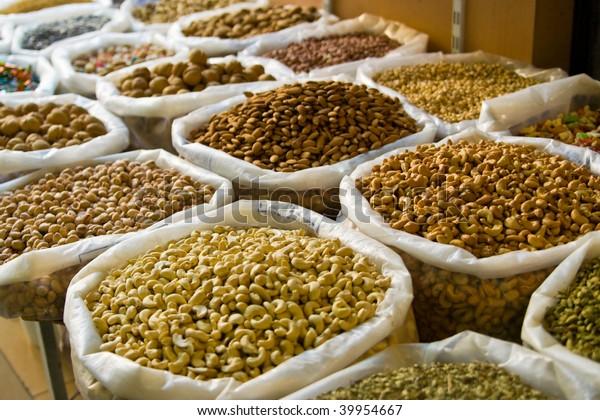 nuts on a oriental bazaar in Oman
