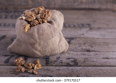Nuts on the wooden table