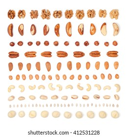 nuts organized on white background. flat lay concept top view
