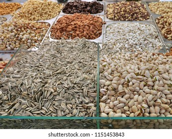 nuts and seeds in a bulk food store