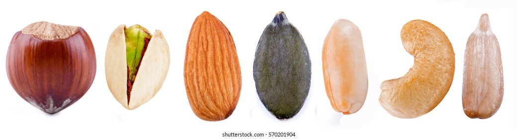 Nuts and seeds isolated on white background.