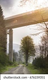 Nuttlar, Germany - May 7th 2017: Autorailway construction valley bridge Nuttlar