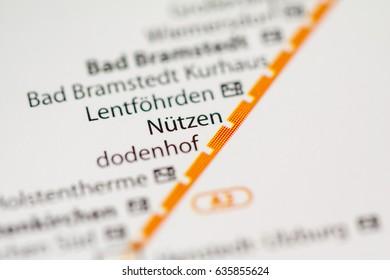 Nutzen Station. Hamburg Metro map.