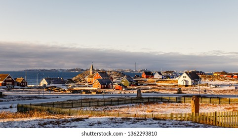 Nuuk city suburb panorama with Inuit houses with sea and the fjord background, Greenland