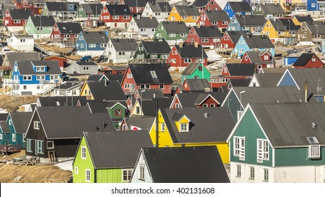 Nuuk, Greenland. Colorful houses. May 2014