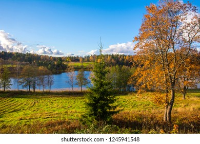 Nuuksio lake view in autumn, Espoo, Finland