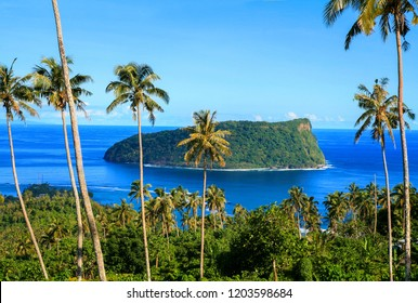 Nu'utele Island of volcanic tuff ring in deep blue waters of Pacific Ocean, scenic view from Upolu island, Samoa, Oceania