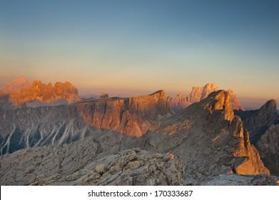 Nuvolau Group mountains, views from Rifugio Nuvolau, Dolomites, Italy