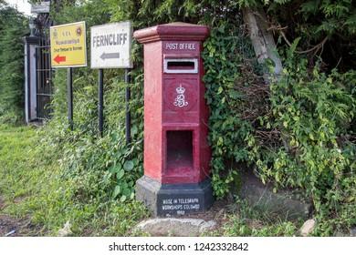 Nuwara Eliya, Sri Lanka - August 6, 2018: A red letter box from the Sri Lankan Post