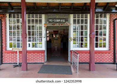 Nuwara Eliya, Sri Lanka - August 6, 2018: Entrance to the post office building, one of the oldest post offices in Sri Lanka