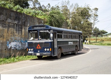 Nuwara Eliya, Sri Lanka - August 6, 2018: A Sri Lankan prisoner transporter is parked at the side of a road