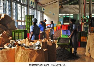 NUWARA ELIYA, SRI LANKA - February 16, 2018: Workers (mostly women) inside of old Ceylon tea factory. Nuwara Eliya - main place for tea plantation, production in Sri Lanka. Manual labor in tea factory