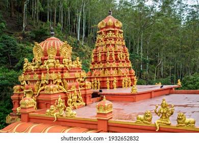 NUWARA ELIYA, SRI LANKA - SEPTEMBER 24, 2018: Colorful Seetha Amman Hindu temple in Nuwara Eliya, Sri Lanka.