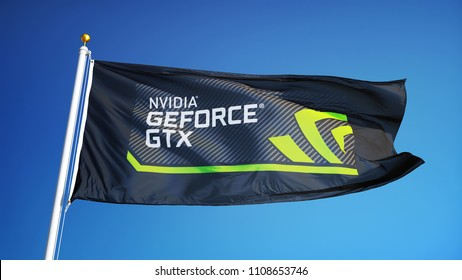 Nvidia GeForce GTX logo flag waving against bright blue sky, editorial image, close up, isolated on clear blue sky with black and white matte.