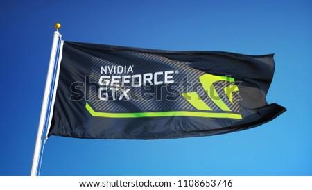 Nvidia Ge Force GTX Logo Flag Waving Stock Photo (Edit Now