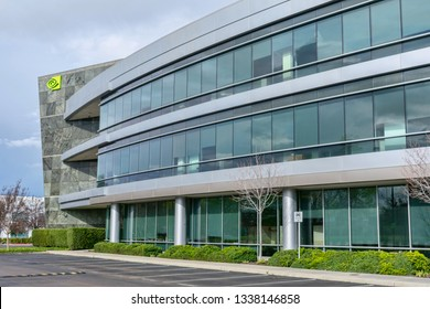 NVIDIA headquarters office in Silicon Valley with NVIDIA corporation logo on the building - Santa Clara, California, USA - March 10, 2019