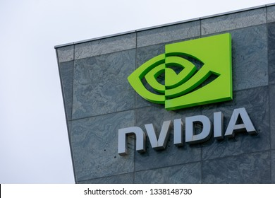 NVIDIA logo and company name on the office building in Silicon Valley - Santa Clara, California, USA - March 10, 2019