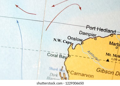 NW Cape. Australia on a geography map