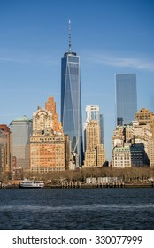NY - MANHATTAN - 01 JAN 2015: Freedom Tower (WTC ONE) in classical context of Manhattan skyline.