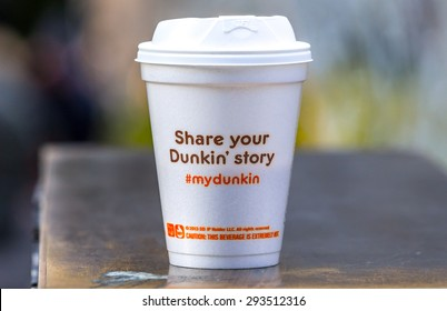 NY Manhattan circa dec 2014: Cup of famous Dunkin Donuts chain whit share your story script in Manhattan