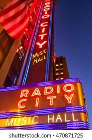NY - MANHATTAN, CIRCA DEC 2014: Radio City Music Hall facade at blu hour in Manhattan