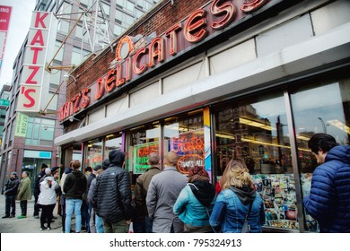 NY, USA, March 24, 2017:  People queuing at the mythical restaurant Kkatz's.  It was the site of Meg Ryan's famous fake orgasm scene in the 1989 romantic comedy When Harry Met Sally.