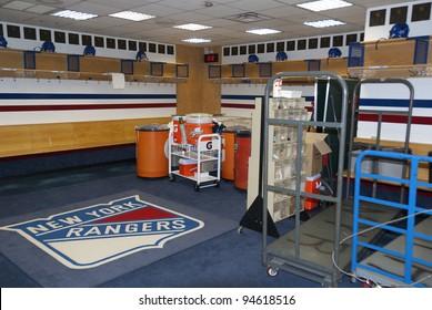 NY - NY - USA MAY 22: Locker room of New York Rangers in Madison Square Garden on May 22, 2009 NY, NY, USA. The New York Rangers are a professional ice hockey club based in the borough of Manhattan