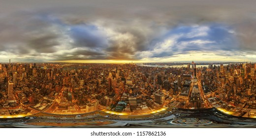 NY, USA. November 13, 2017. Manhattan from the Empire State Building on a warm afternoon. Full spherical 360 degrees seamless panorama in equirectangular equidistant projection, photo for VR AR conten