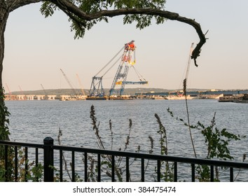 Nyack, New York - September 07 2015: View from Hudson embankment of tremendous crane working on new Tappan Zee bridge.