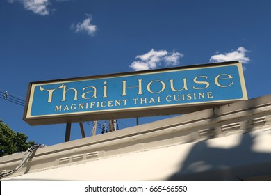 NYACK, NY - JUNE 20, 2017: Sign for Thai House restaurant on Park Street. Editorial use only.