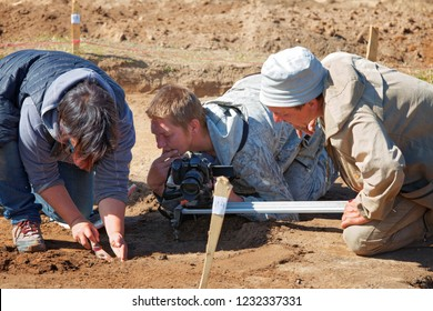 Nyaksimvol village Beryozovsky district of the KHMAO-Yugra Russia-August, 12 2017 Video shooting during field archaeological expedition on the territory of the hamlet