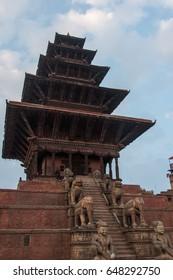 The Nyatapola Temple in Durbar Square, Baktapur, Nepal.