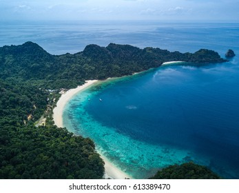 Nyaung Oo Phee lsland with white sandy beach. Aerial view from drone. Myanmar (Burma) travel destinations