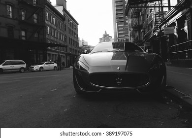 NYC - April 2015 - Photo of a Maserati GranTurismo S . The Maserati GranTurismo is a two-door, four-seat coupe produced by the Italian car manufacturer Maserati.