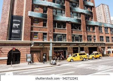 NYC: August 27, 2016: Exterior of Chelsea Market in Manhattan, New York City.  The Chelsea Market building is the location where the first Oreo cookie was created.