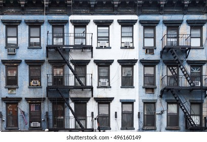 NYC Blue and white brick apartment buildings in the East Village of Manhattan in New York City