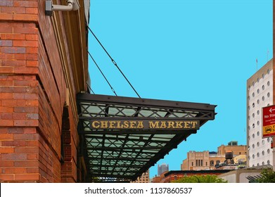 NYC Entrance in Landmark Chelsea Market seen on 22.05.2016.. Built in the former National Biscuit Company factory, Chelsea Market is a popular indoor market, eatery and mall. Manhattan USA