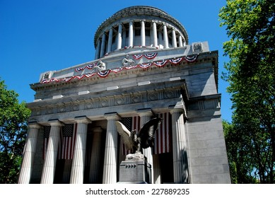 NYC:  Grant's Tomb on Riverside Drive decorated with patriotic red, white, and blue bunting for the Memorial Day holiday