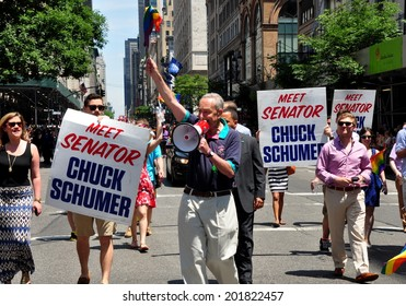 NYC - June 29, 2014:  United States Senator from New York Chuck Schumer marching in the 2014 Gay Pride Parade on Fifth Avenue