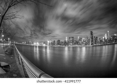 NYC - long exposure taken with a fish eye lens from Gantry State Plaza Park)