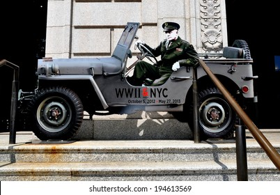 NYC - May 11, 2013:  A cut-out of General Dwight D. Eisenhower sitting in a jeep promotes the WWII & NYC exhibition at the New York Historical Society Museum