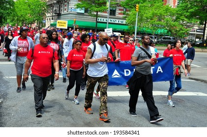 NYC - May 18, 2014: Delta Air Lines employees participating in the AIDS WALK NYC 2014 walkathon to raise money for the fight against AIDS