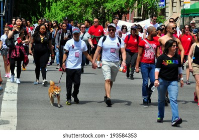 NYC - May 18, 2014:  Some of the 30,000 people participating in the AIDS WALK NYC 2014 walkathon to raise money for AIDS charities and research