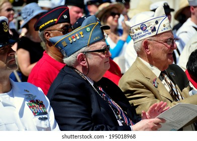 NYC - May 26, 2014:  War veterans attending the annual Memorial Day holiday ceremonies in Riverside Park