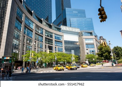 NYC, New York: August 28, 2016: Time Warner Center in New York City.  Time Warner Center is a mixed-use development that includes commercial and residential use in the twin tower buildings.