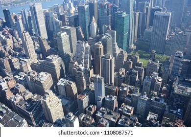 NYC, New York / USA - May 9 2018: The view from Manhattan skyline from the top of the Empire State Building