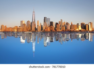 NYC panorama reflection in Hudson River day-night composition